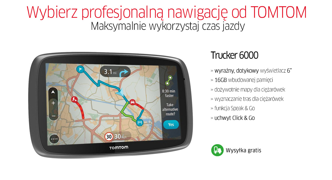 nawigacja tomtom trucker 6000 tir ci arowe 110z 5565786589 wi cej ni aukcje. Black Bedroom Furniture Sets. Home Design Ideas