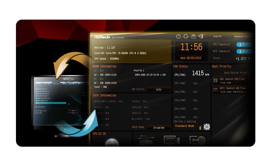 Płyta główna Socket 1151 ASRock H110M-DGS - Bios UEFI
