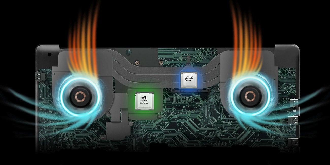 ASUS FX503VD Inteligentnie zaprojektowany system chłodzenia
