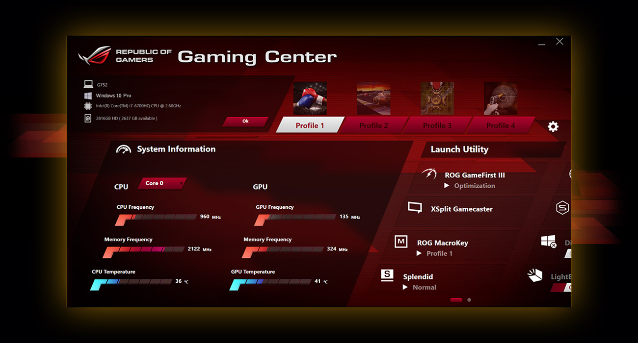 Laptop ASUS ROG G752VS rog gaming center