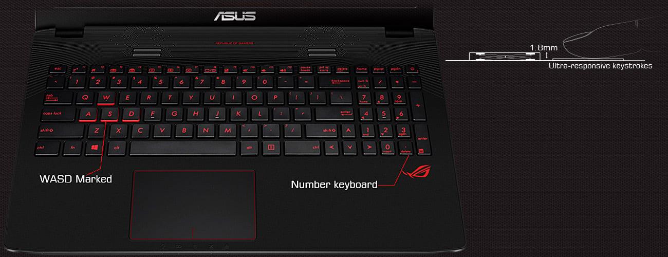 ASUS GL752VW Podświetlana klawiatura
