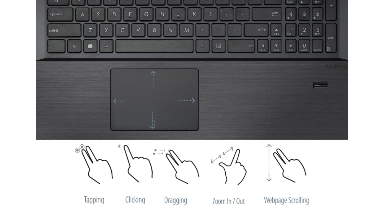 laptop ASUS P2540UA komfortowa klawiatura