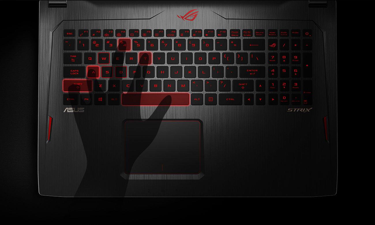 ASUS ROG Strix GL702ZC podświetlana klawiatura, Anti-Ghosting