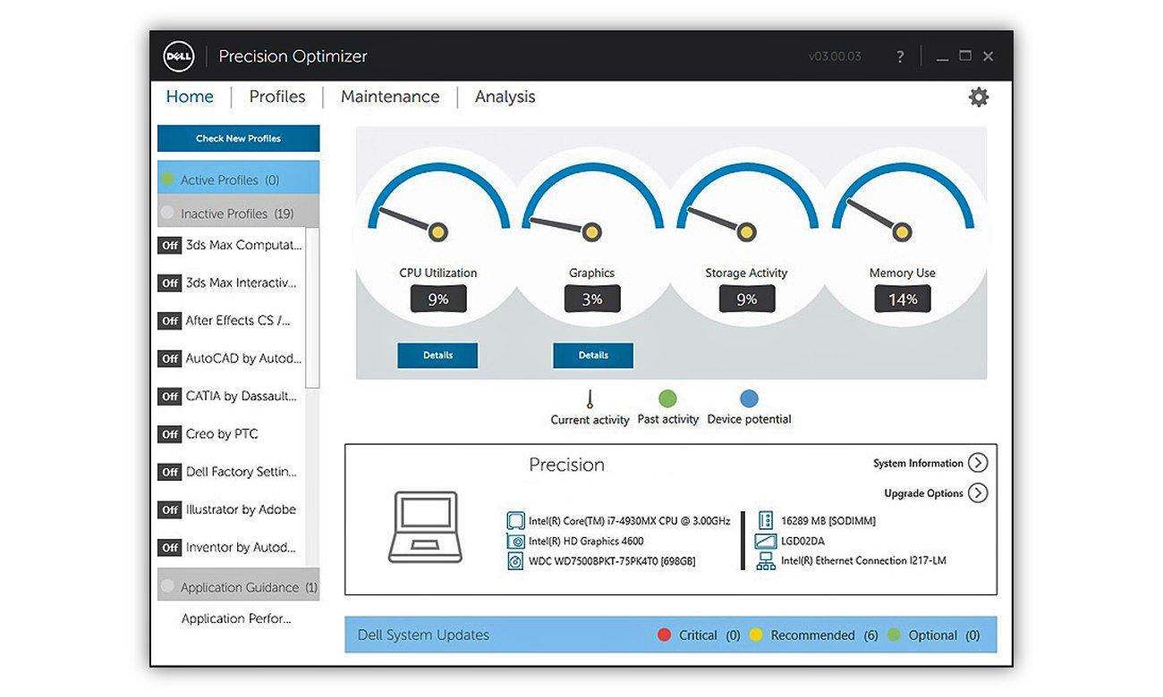 Dell Precision 7520 Lepsza produktywność z Dell Precision Optimizer