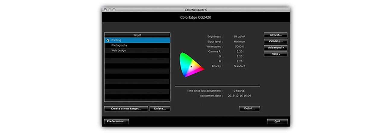 Eizo CG2420-BK Oprogramowanie do kalibracji ColorNavigator