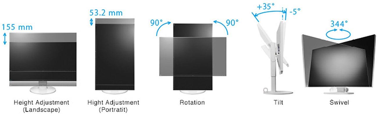 Eizo EV2750-BK Wygodna regulacja elastycznej stopki