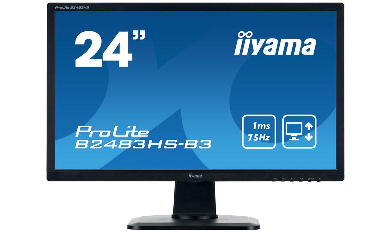 IIYAMA B2483HS-B3 Komfort użytkowania i doskonała jakość obrazu