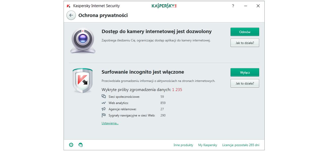 Kaspersky Internet Security Multi-Device PL Box prywatność