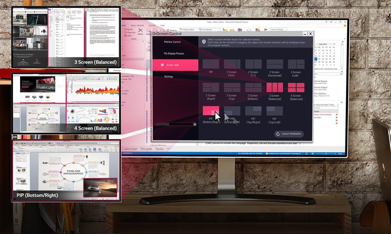 LG 24MP88HV-S Funkcja dzielenia ekranu