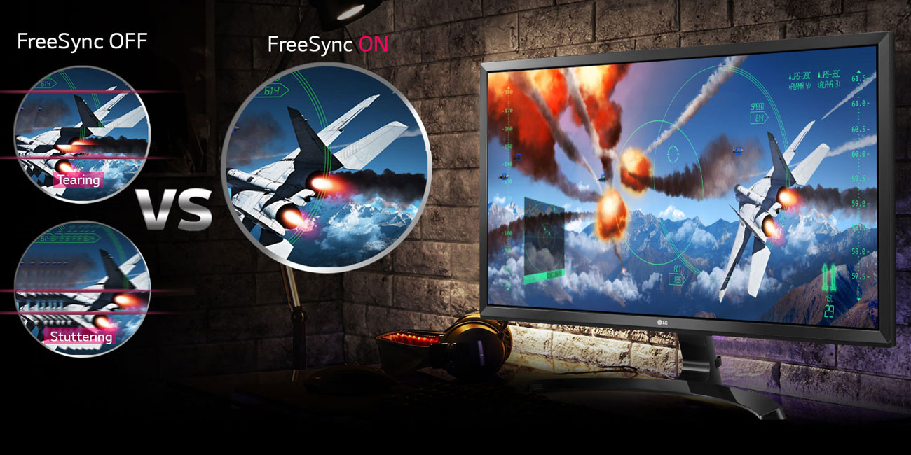 LG 27UD59-W 4K Wyraźne sceny gry na żywo dzięki FreeSync
