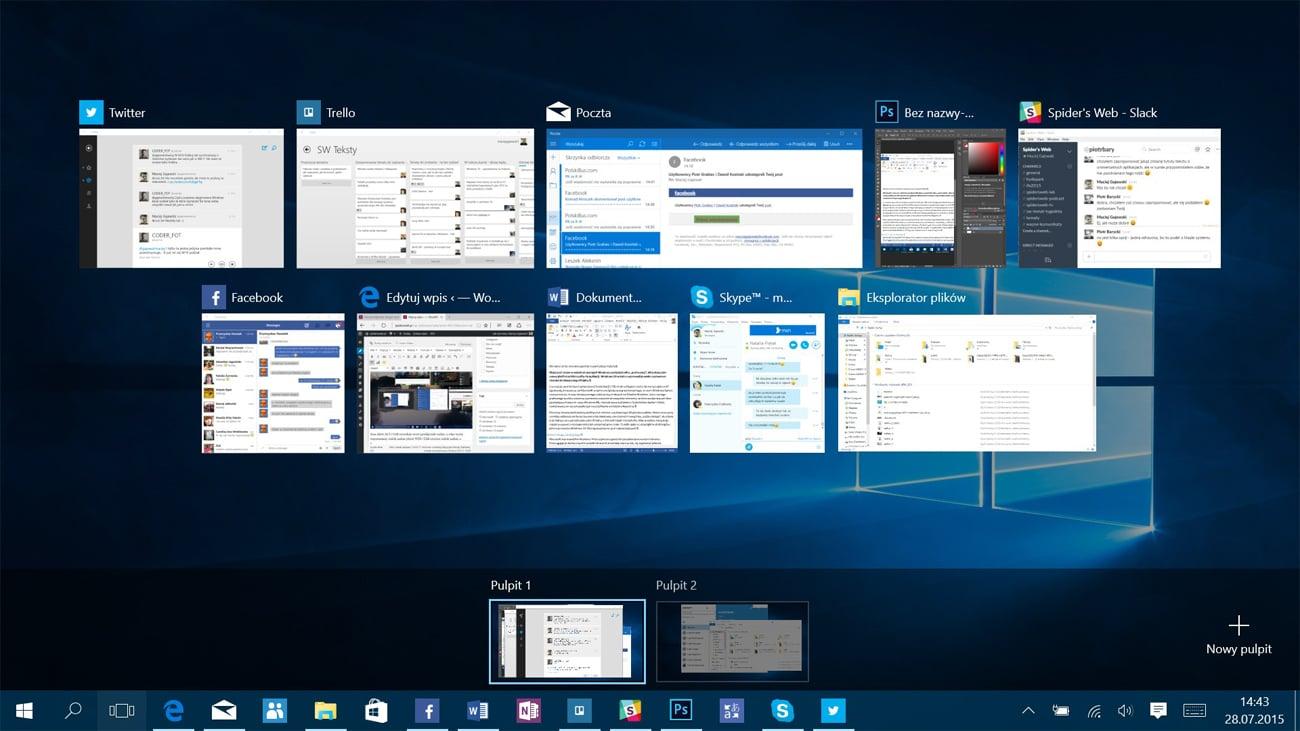 Windows 10 Wielozadaniowość