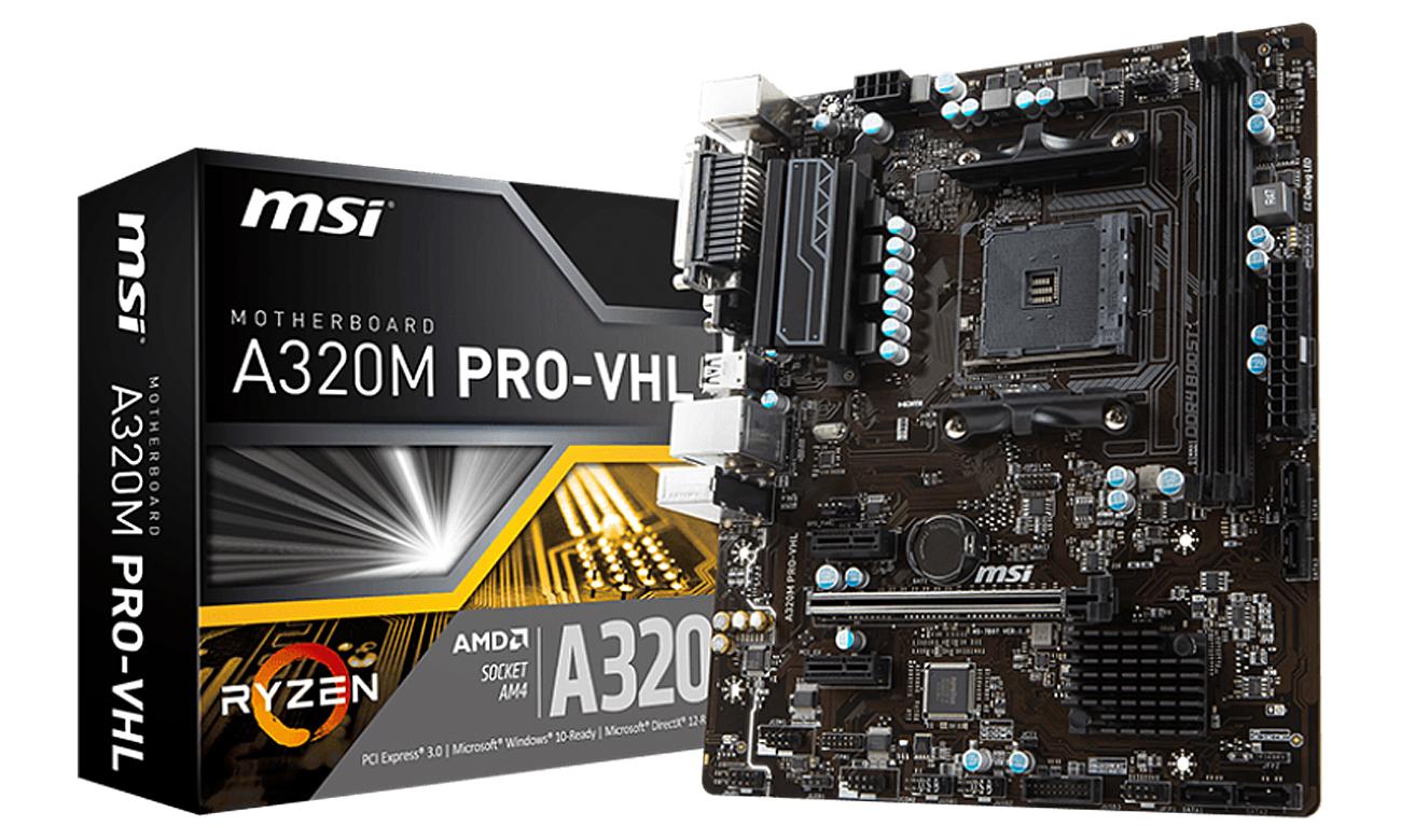 MSI A320M PRO-VHL obsługa AMD RYZEN