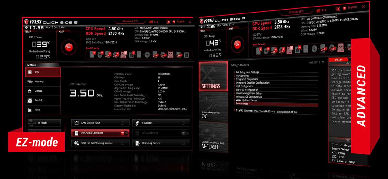 MSI B350M BAZOOKA BIOS dla graczy