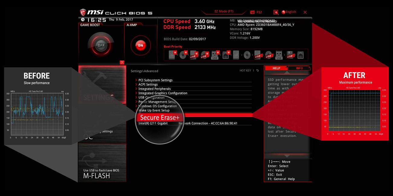 MSI B350M BAZOOKA Funkcja Secure Erase+