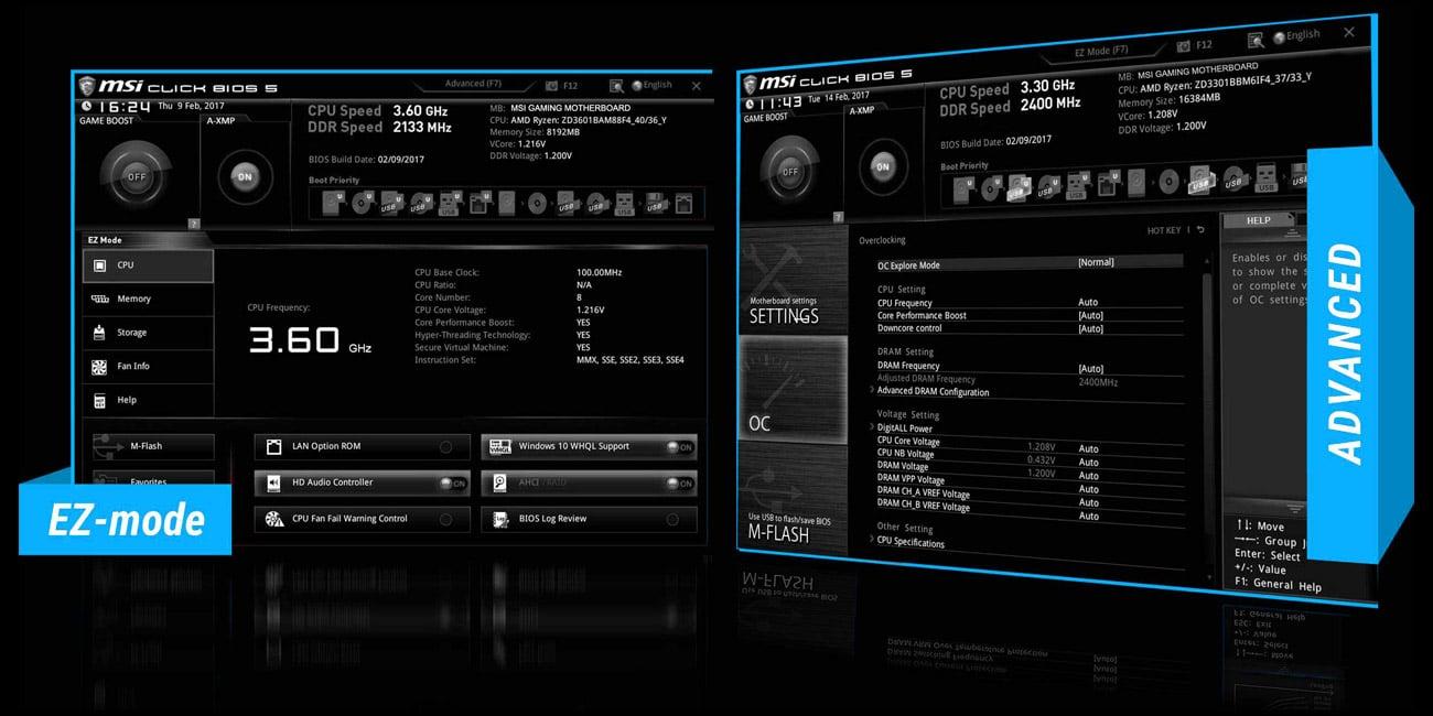 MSI B350M PRO-VDH BIOS przyjazny dla użytkownika