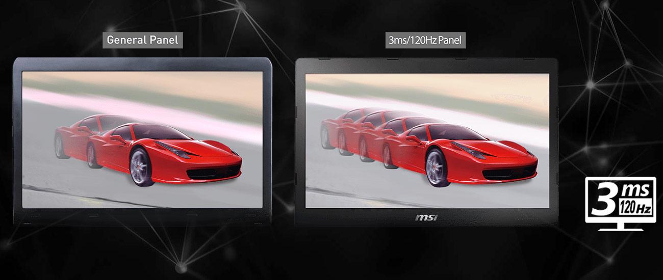 MSI Titan GT75VR 7RE 120-hercowy ekran o czasie reakcji 3 ms