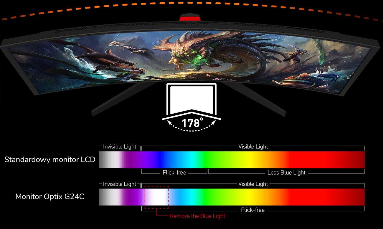 MSI Optix G24C Szeroki kąt widzenia z redukcją niebieskiego światła