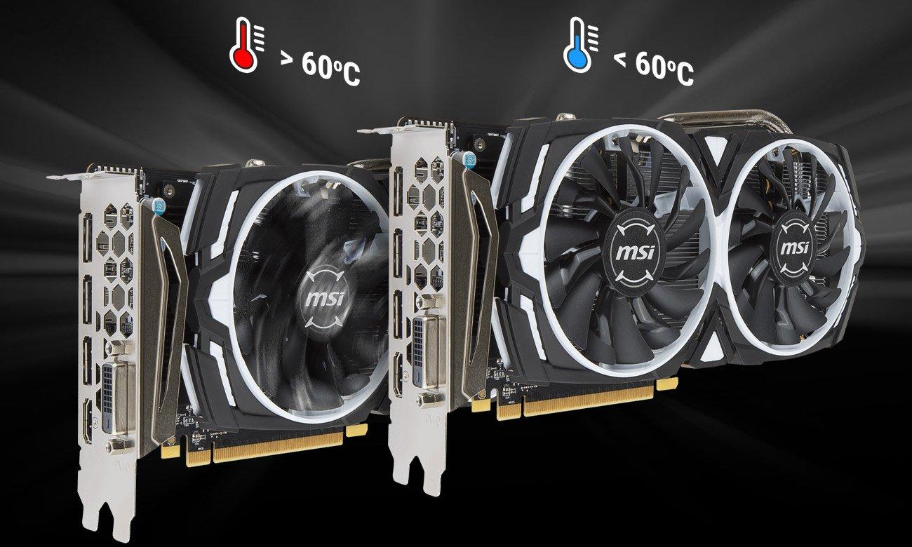 MSI Radeon RX 570 ARMOR OC 4GB GDDR5 Technologia Zero Frozr