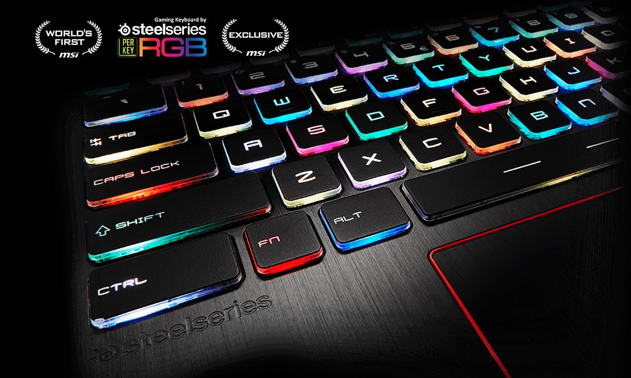 MSi GE63VR Raider klawiatura SteelSeries z osobno podświetlanymi klawiszami