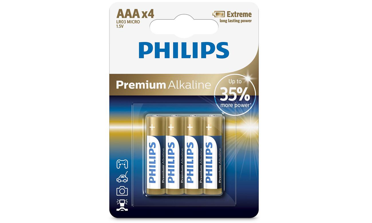 Baterie alkaliczne AAA Philips Premium Alkaline 4 szt.