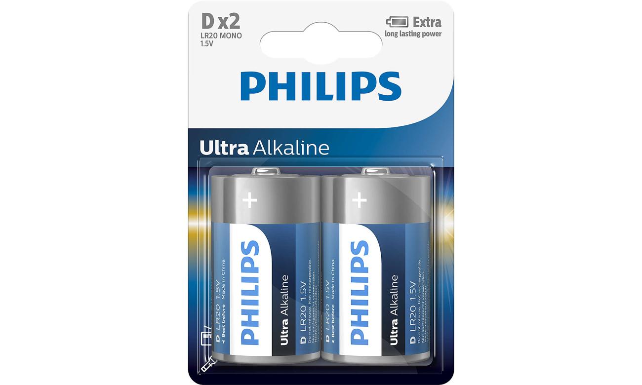 Baterie alkaliczne Philips Ultra Alkaline D 2 szt.