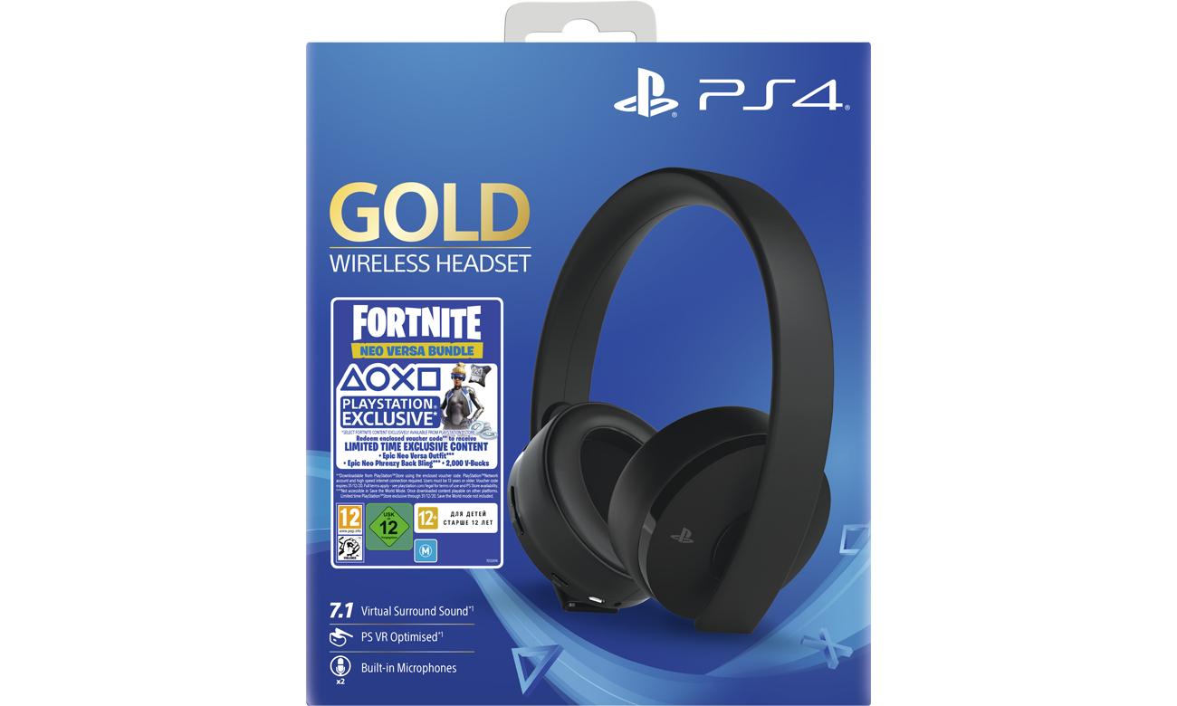Zestaw Sony Gold Wireless Headset + Fortnite Neo Versa Bundle
