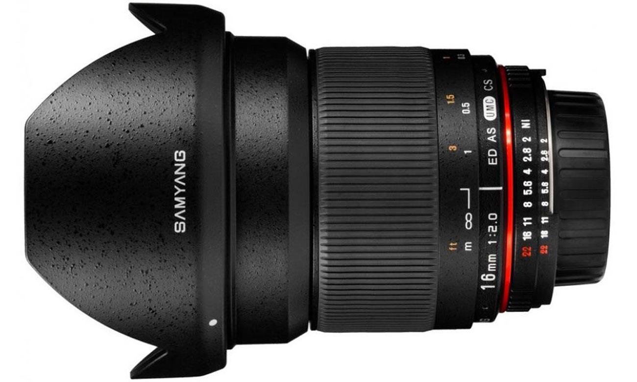 Obiektywy stałoogniskowy Samyang 16mm F2.0 ED AS UMC Canon Solidna konstrukcja