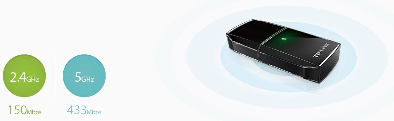 Karta sieciowa TP-Link Archer T2U (433Mb/s a/b/g/n/ac) DualBand Płynna praca i rozrywka