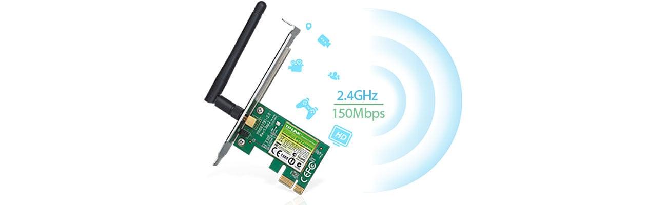 Prędkość transmisji w standardzie N do 150Mb/s
