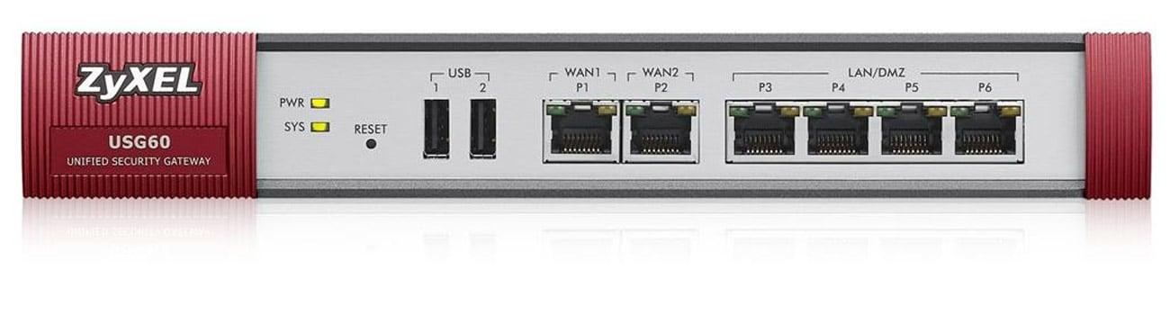 Firewall Zyxel USG60 (4x100/1000Mbit 2xWAN) AV Bundle Ochrona i kontrola