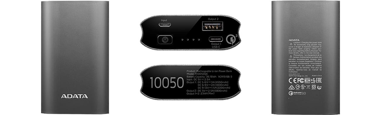 Power Bank ADATA 10050 mAh tytanowy AA10050QC-USBC-5V-CTI