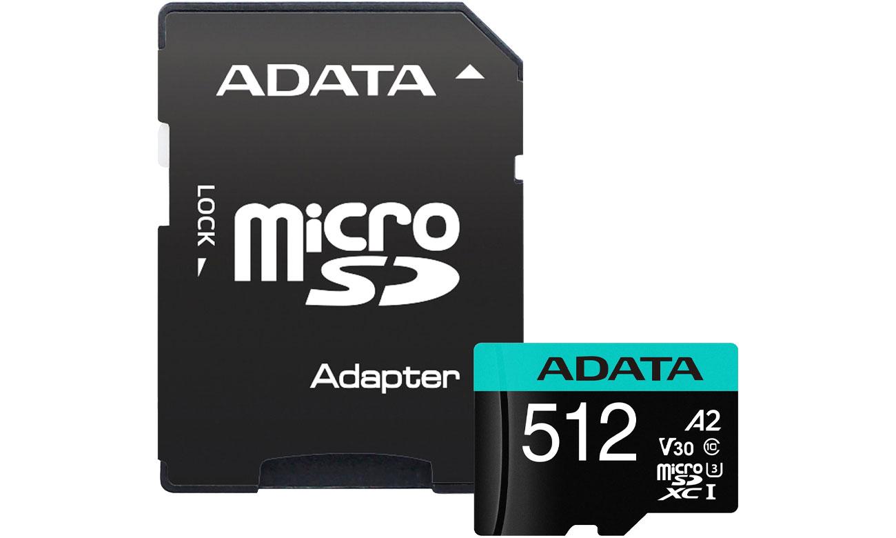 Karta pamięci microSD ADATA 512GB Premier Pro U3 V30S A2 + adapter AUSDX512GUI3V30SA2-RA1