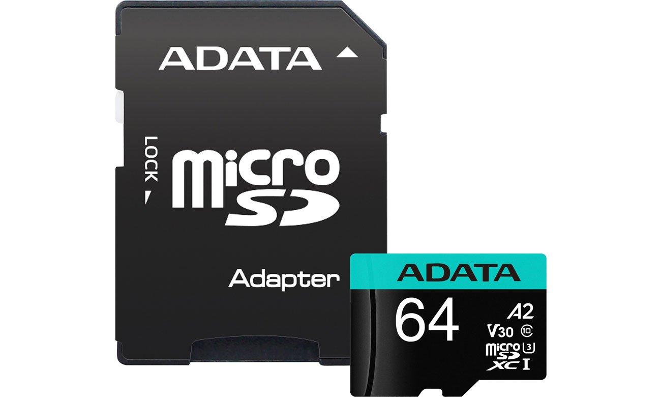 Karta pamięci microSD ADATA 64GB Premier Pro U3 V30S A2 + adapter AUSDX64GUI3V30SA2-RA1