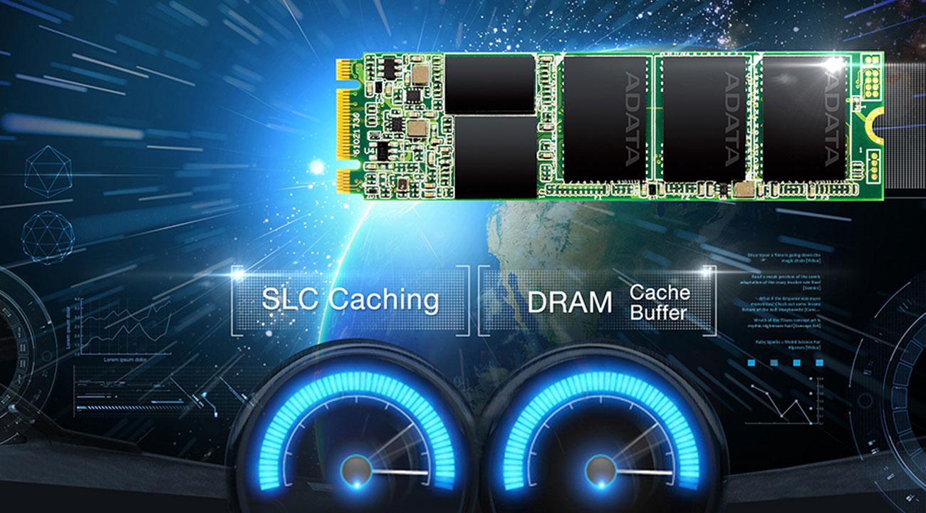 ADATA Ultimate SU800 M.2 2280 Inteligentne buforowanie SLC oraz bufor DRAM
