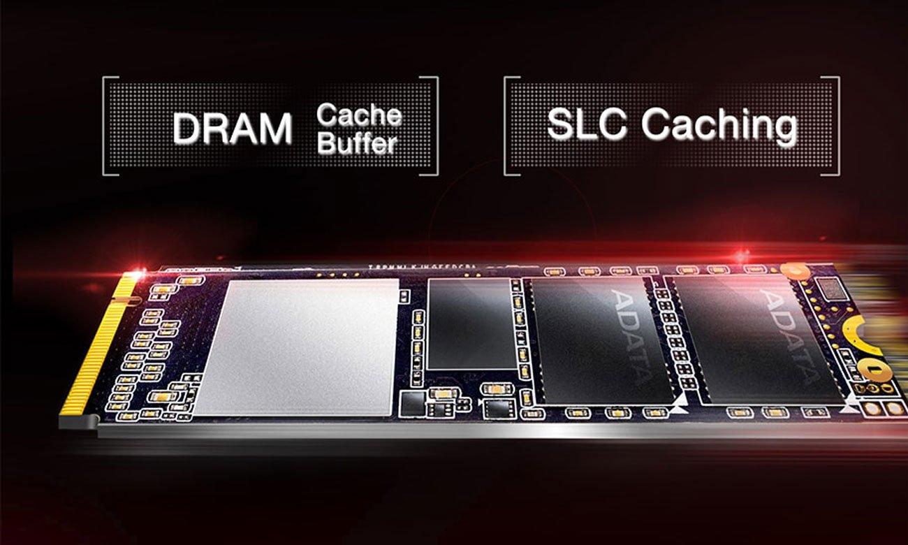 ADATA XPG SX6000 PCIe Gen3x2 M.2 2280 Inteligentne buforowanie SLC oraz bufor DRAM