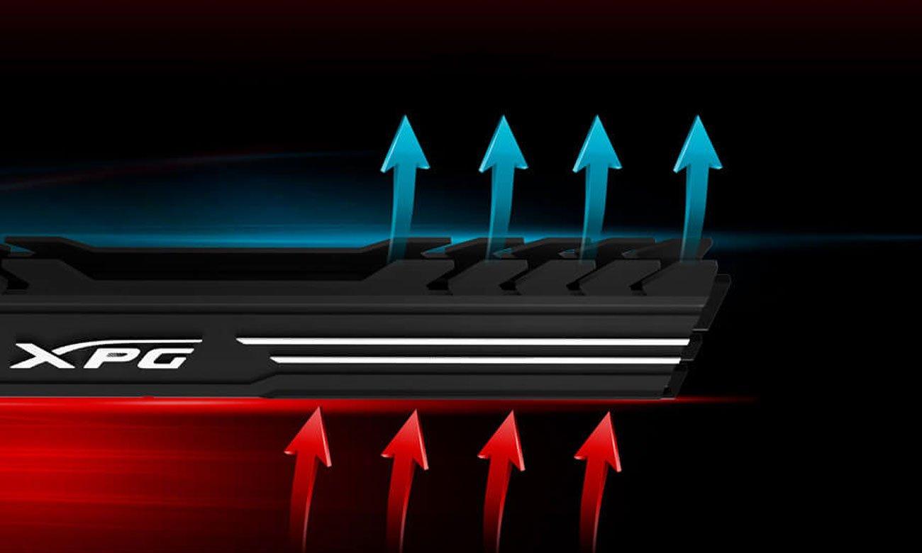Moduł pamięci RAM DDR4 XPG GAMMIX D10 Unikalna konstrukcja radiatora o niskim profilu