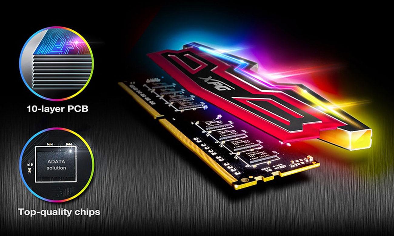 XPG SPECTRIX D40 DDR4 RGB Doskonałe chłodzenie i stabilność