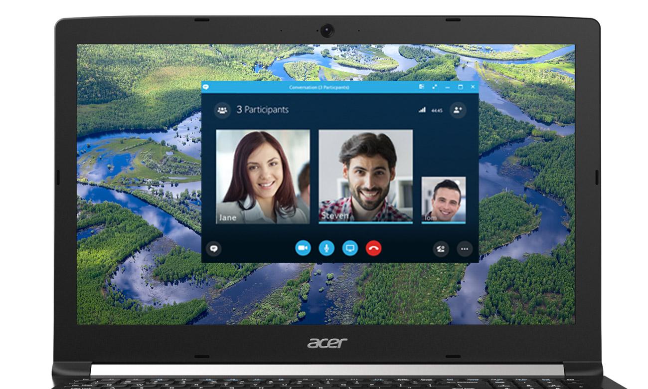 Acer Aspire 5 Kamera HD oraz dwa mikrofony, Certyfikat Skype for Business