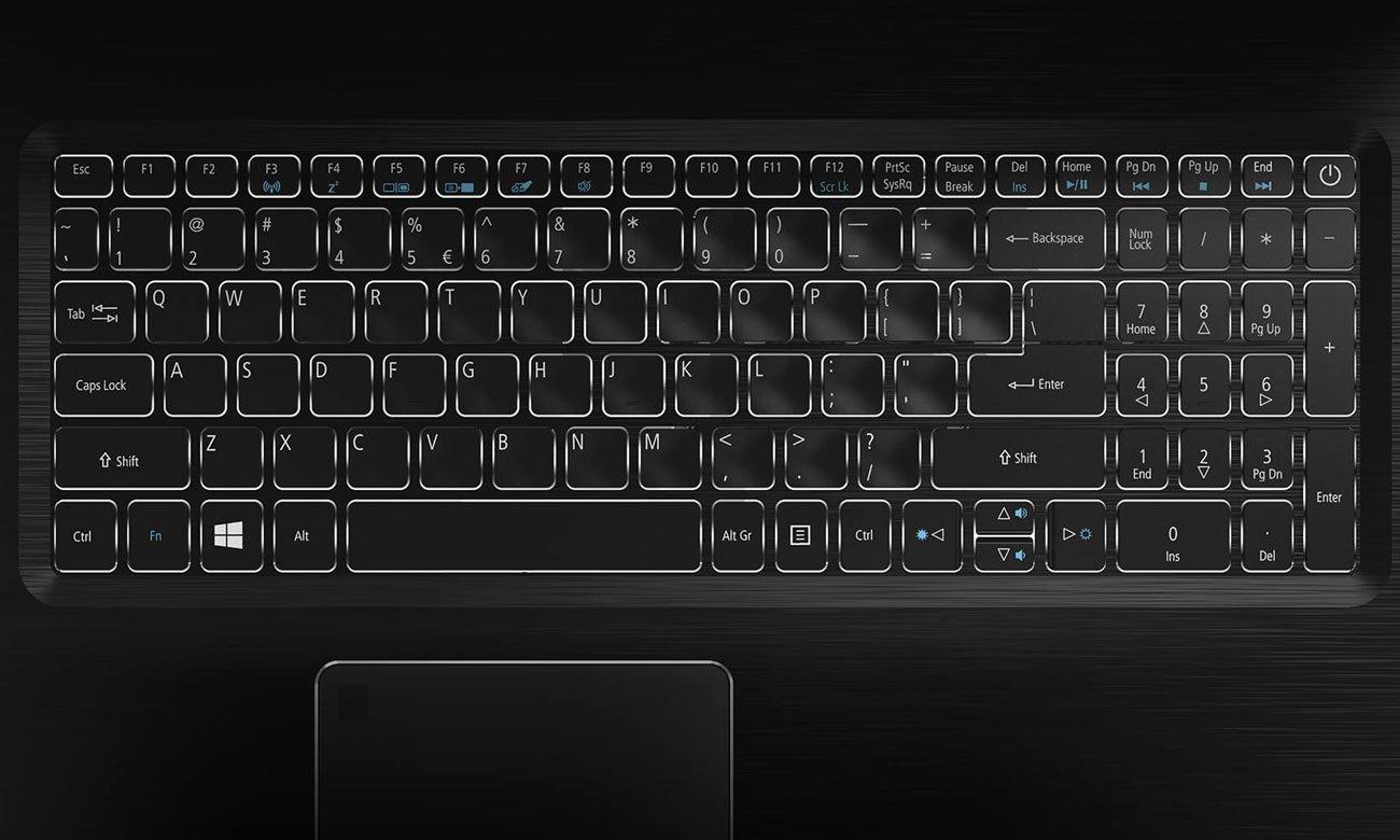 Acer Aspire 7 Ergonomiczna, podświetlana klawiatura