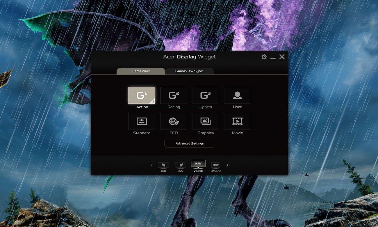 Acer Nitro VG240YUBMIIPX Ustawienia