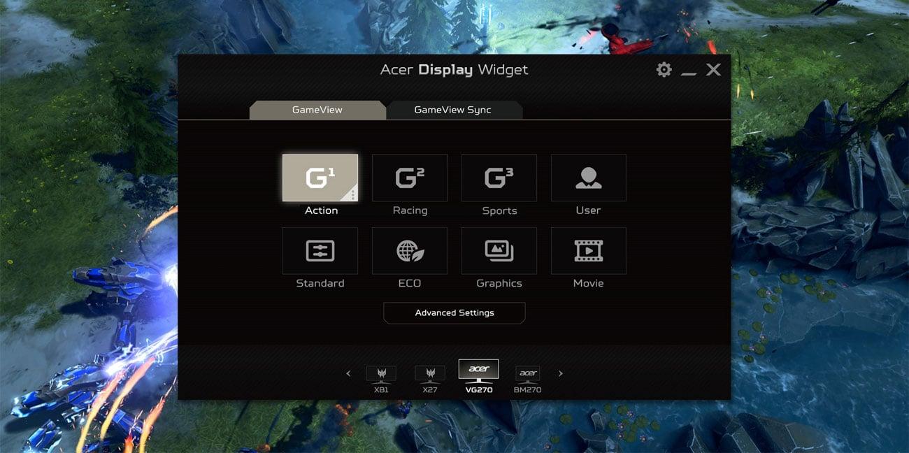 Acer Nitro XV3 Quantum Dot Ustawienia