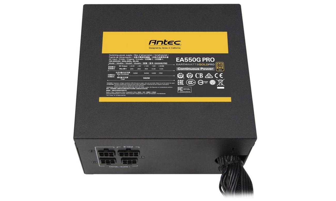 Zasilacz Antec EA550G Earthwatts Gold Pro 550W Certyfikat 80 PLUS Gold
