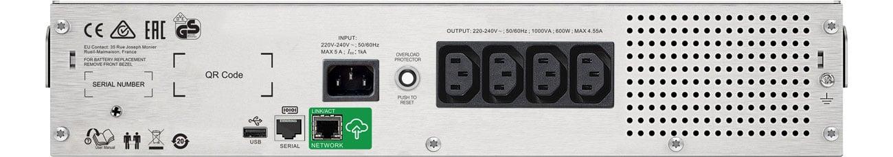 APC Smart-UPS C 1000VA - Widok z tyłu