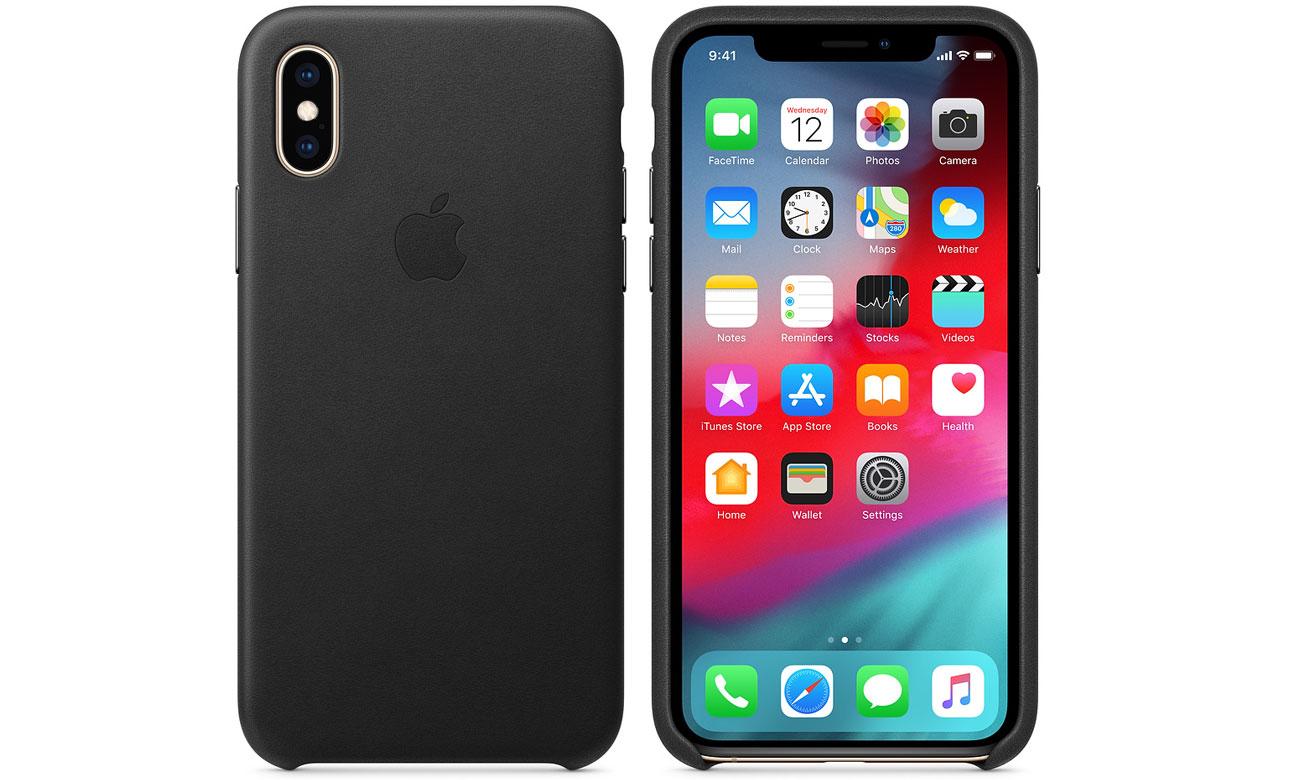 Etui Apple Leather Case Black do iPhone XS
