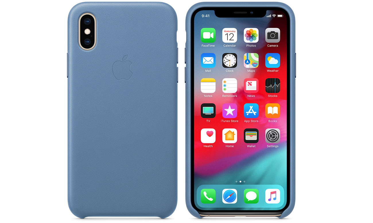 Etui Apple Leather Case Cornflower do iPhone XS