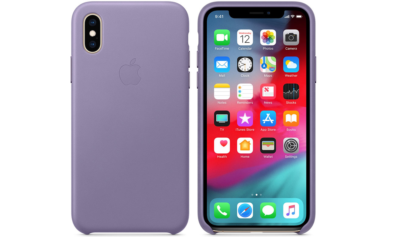 Etui Apple Leather Case Lilac do iPhone XS