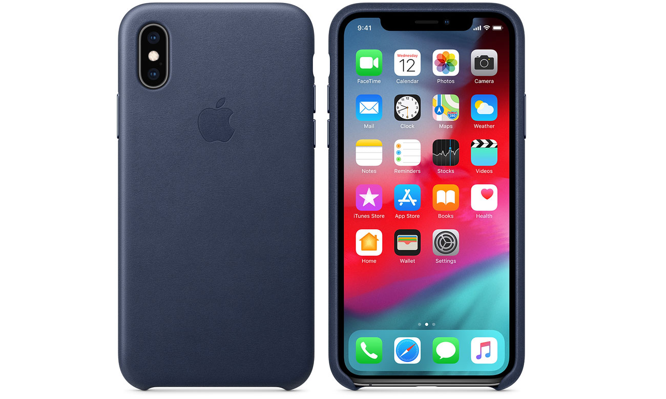 Etui Apple Leather Case Midnight Blue do iPhone XS
