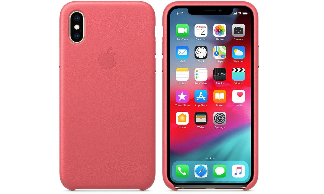 Etui Apple Leather Case Peony Pink do iPhone XS