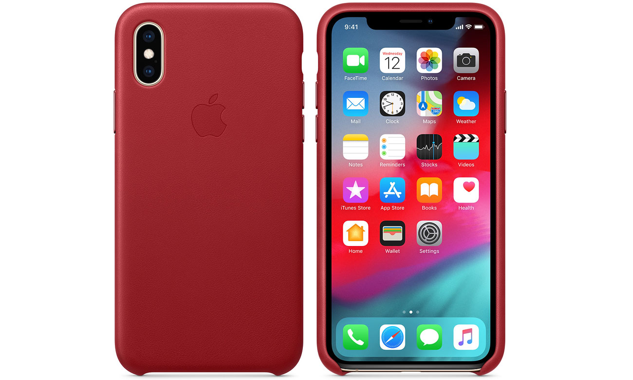 Etui Apple Leather Case (PRODUCT)RED do iPhone XS