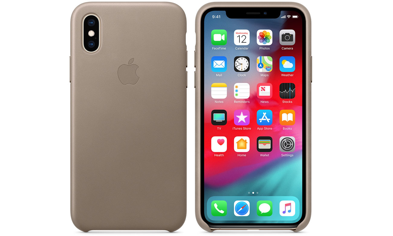 Etui Apple Leather Case Taupe do iPhone XS